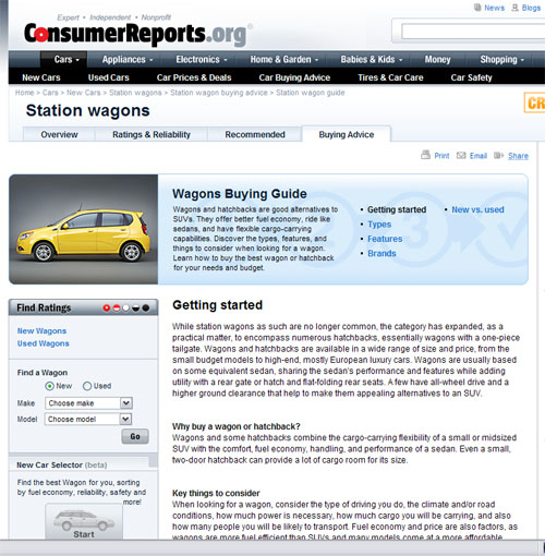 Consumer Buying Guide: Using Consumer Reports To Select A Car